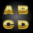 vector golden alphabet letters set