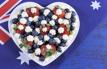 Red, white and blue theme berries with whipped cream stars