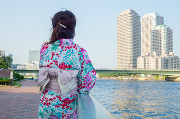 Japanese girl wearing Yukata