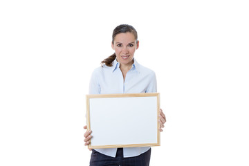 woman with a whiteboard