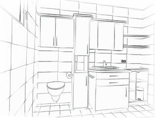 Skizze Badezimmer
