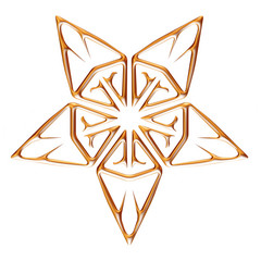 3D Gold Ornamental Star on white background.