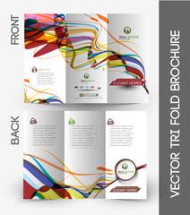 Tri-fold Brochure Design Element, Vector Illustartion.