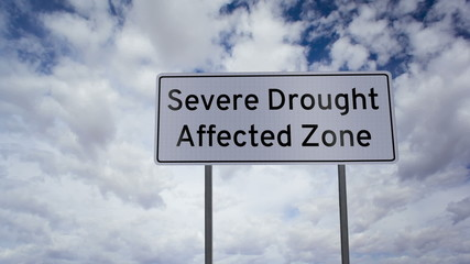 Sign Severe Drought Affected Zone Timelapse