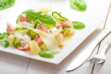 Fettuccine pasta with Salmon and zicchini