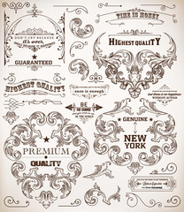 Vector. set of calligraphic design elements: page decoration, Pr