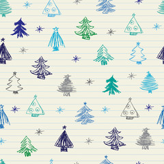 Christmas tree doodles pattern