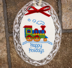 Happy Holidays Christmas Ornament with Train