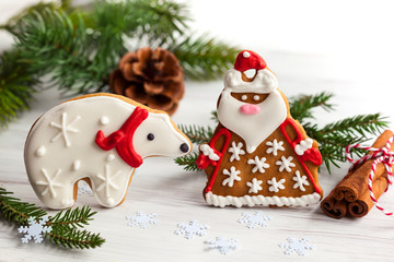 Gingerbread Santa Claus and polar bear