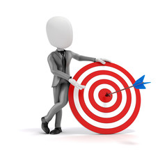 3d man businessman  with target and arrows.