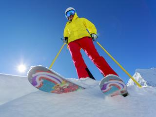 Ski, Skier - woman skiing
