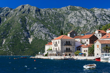 A beautiful town of Perast in the Bay of Kotor, Montenegro