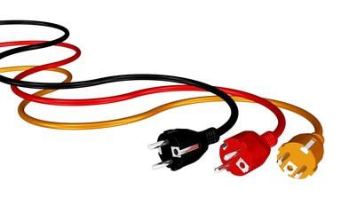 Stecker und Kabel in Schwarz-Rot-Gold