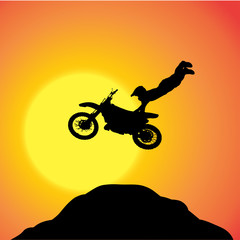 Vector silhouette of a biker.