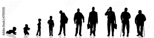 Vector silhouette of people. - 71159311