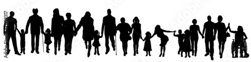 Vector silhouette of a group of people. - 71159317
