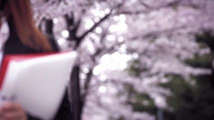 桜の下を歩くOL 1