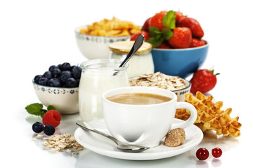 Healthy breakfast - yogurt, coffee, muesli and berries