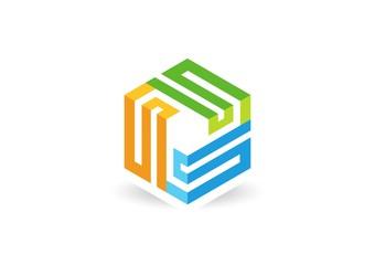 cube geometry logo line 3D,company business square box
