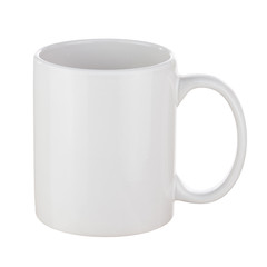 White Ceramic Coffee Cup Isolated on White Background.