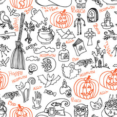 Halloween icons and text seamless pattern.Doodles sketchy