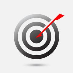Arrow hit bulls eye on target - business goal