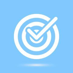 Checkmark white symbol over blue background