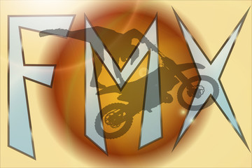 Vector silhouette of a motocross.