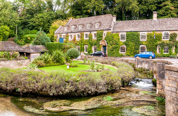 Country in the Cotswold village of Bibury, England