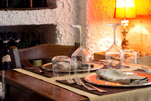 canvas print picture restaurant detail with table for two