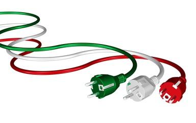 Stecker und Kabel in den Farben der italienischen Flagge