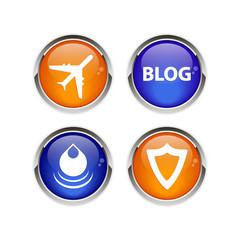 Button icon set 3D web