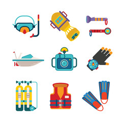 Set of vector colorful diving icons in flat style