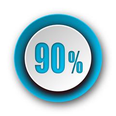 90 percent blue modern web icon on white background