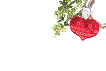 red heart love on tree white background