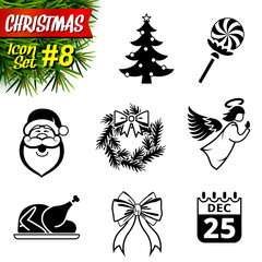 Set of black-and-white christmas icons. New year symbols