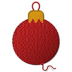 Bauble symbol of knitted fabric isolated on white background