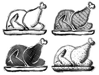 Hand drawn roast turkey. Sketch of christmas whole turkey