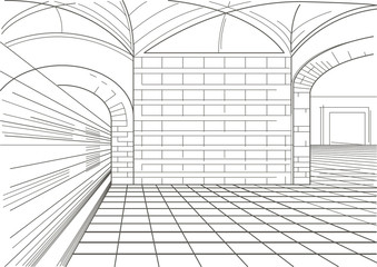 Linear sketch of interior of metro station