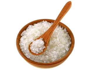 A bowl of Australian sea salt, isolated on white background