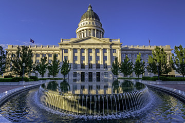 Pool of water in front of the Capital in Utah