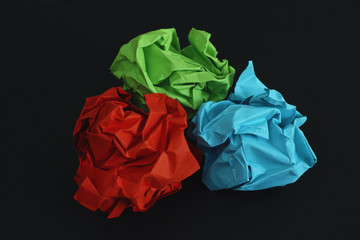 Colorful crumpled paper balls