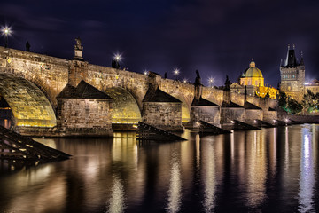 Night view of Charles Bridge and Vltava
