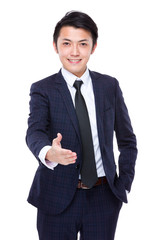 Young businessman want to have a hand shake
