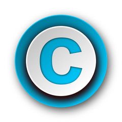 copyright blue modern web icon on white background