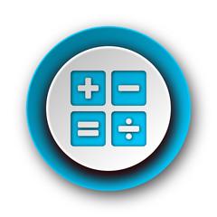 calculator blue modern web icon on white background