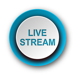 live stream blue modern web icon on white background
