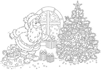 Santa Claus putting gifts under a Christmas tree