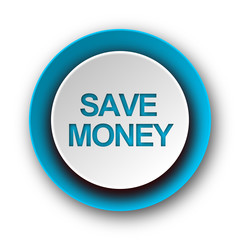 save money blue modern web icon on white background
