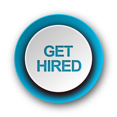 get hired blue modern web icon on white background